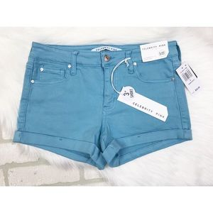 NWT Celebrity Pink Blue Cuffed Jean Shorts Size 5